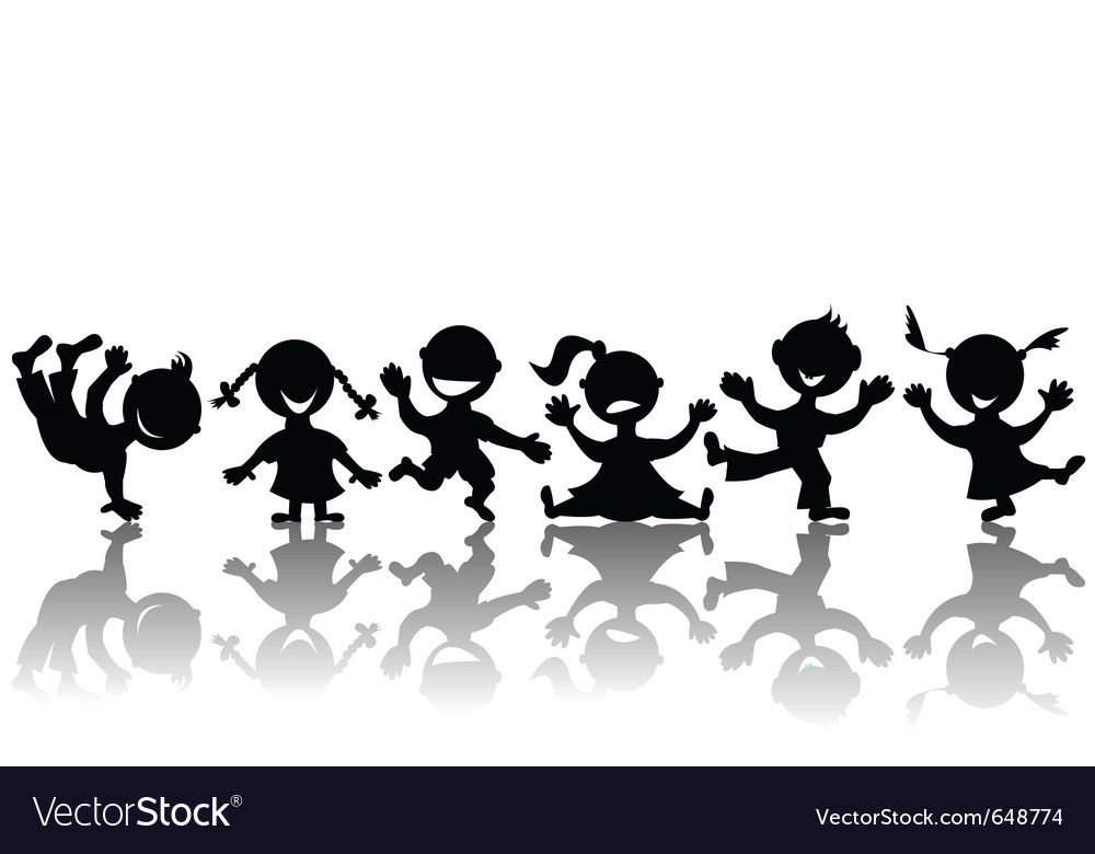 Stylized children silhouettes vector | Price: 1 Credit (USD $1)