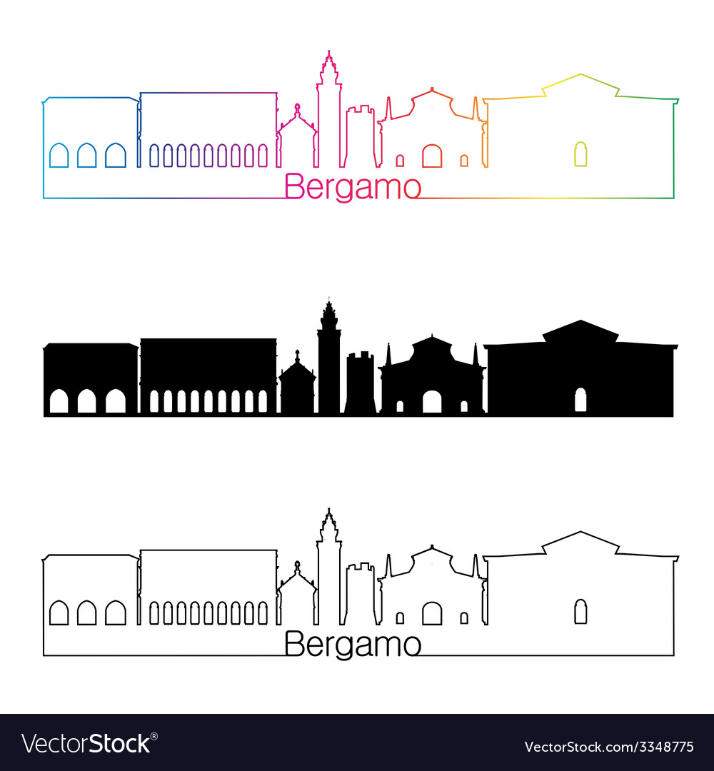 Bergamo skyline linear style with rainbow vector | Price: 1 Credit (USD $1)