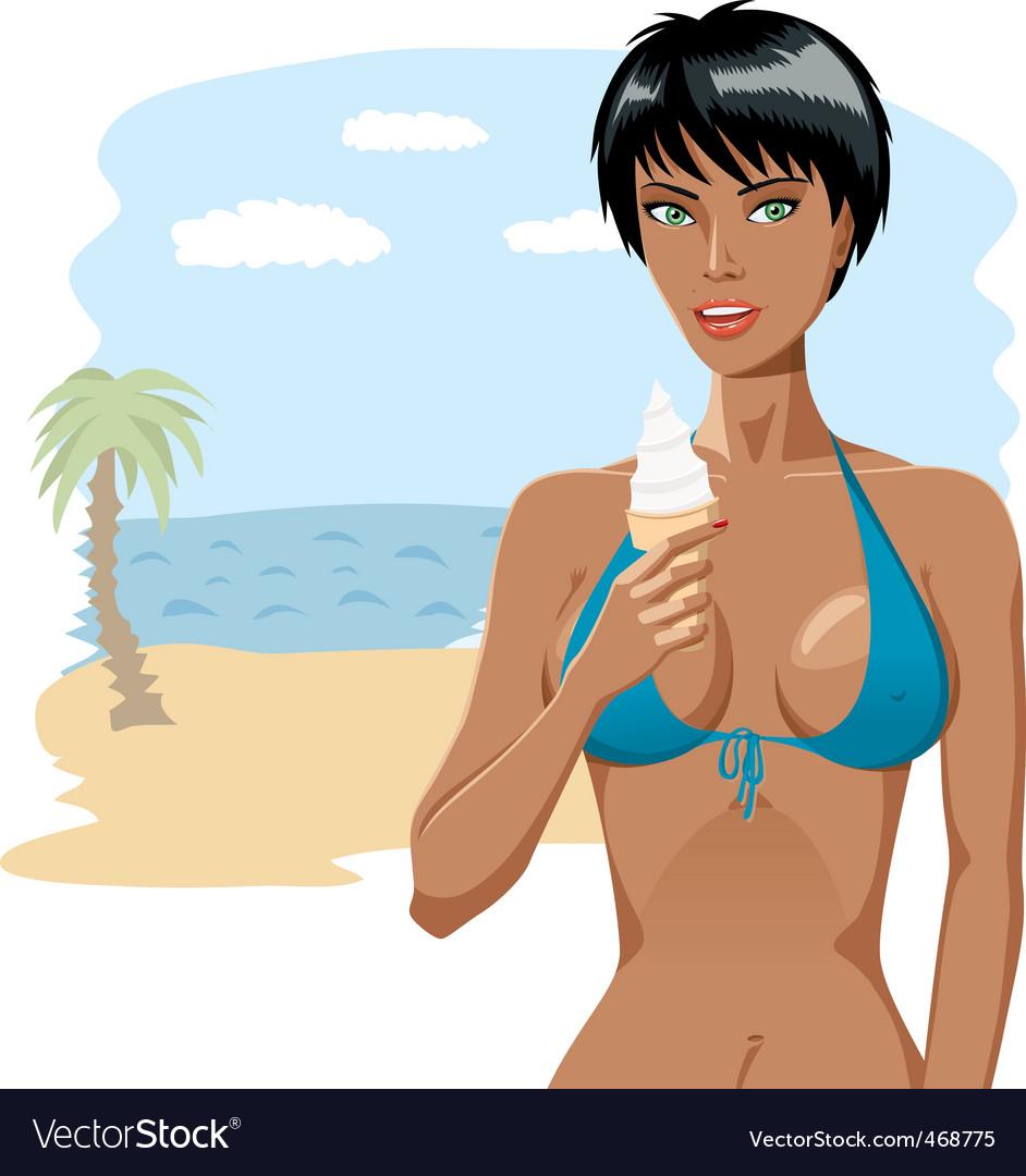 Bikini girl with ice-cream 03 vector | Price: 3 Credit (USD $3)