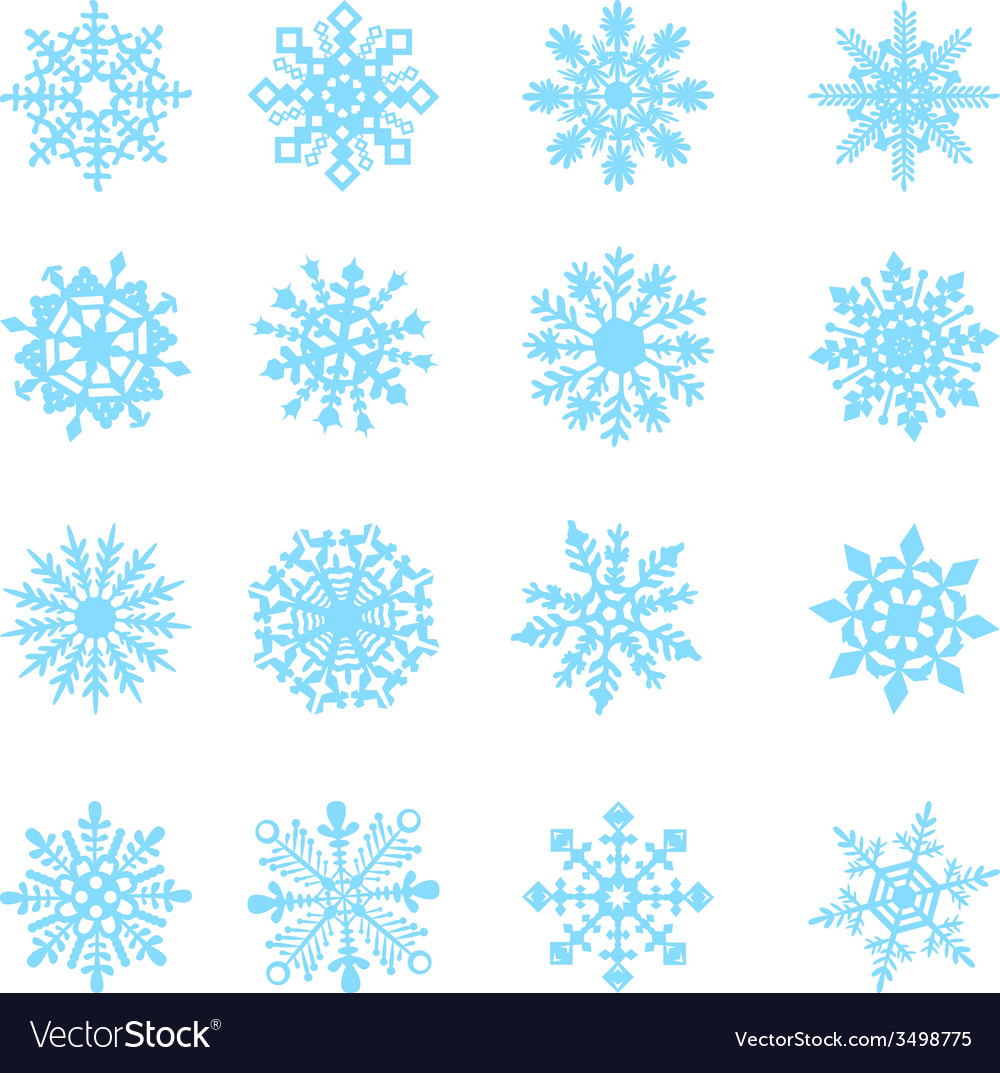 Blue snowflakes and shadow on white background art vector | Price: 1 Credit (USD $1)