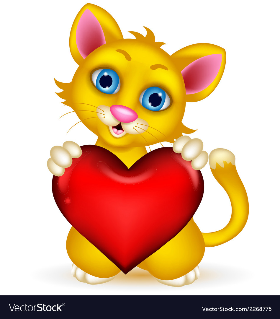 Cute cat cartoon holding heat love vector | Price: 1 Credit (USD $1)