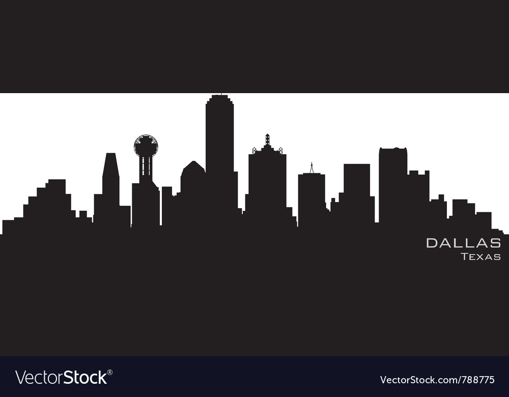 Dallas texas skyline detailed silhouette vector | Price: 1 Credit (USD $1)