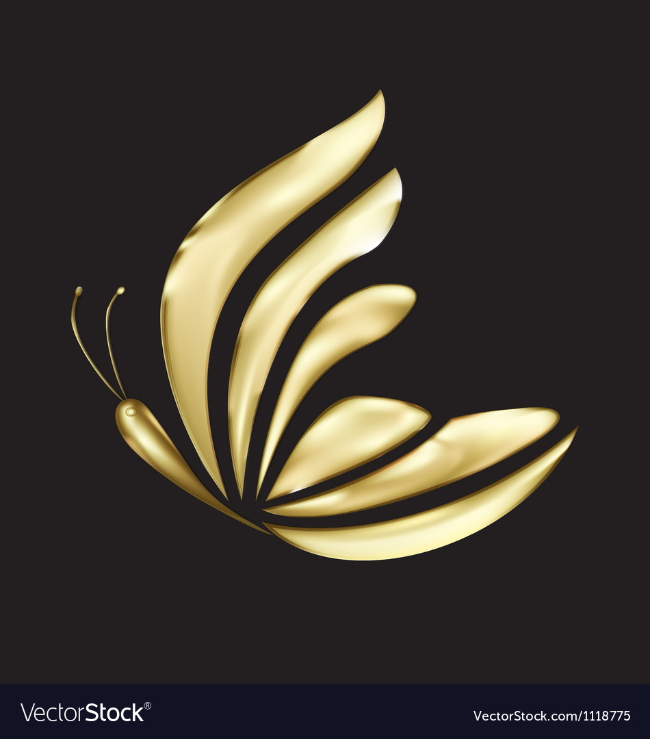 Gold butterfly logo vector | Price: 1 Credit (USD $1)