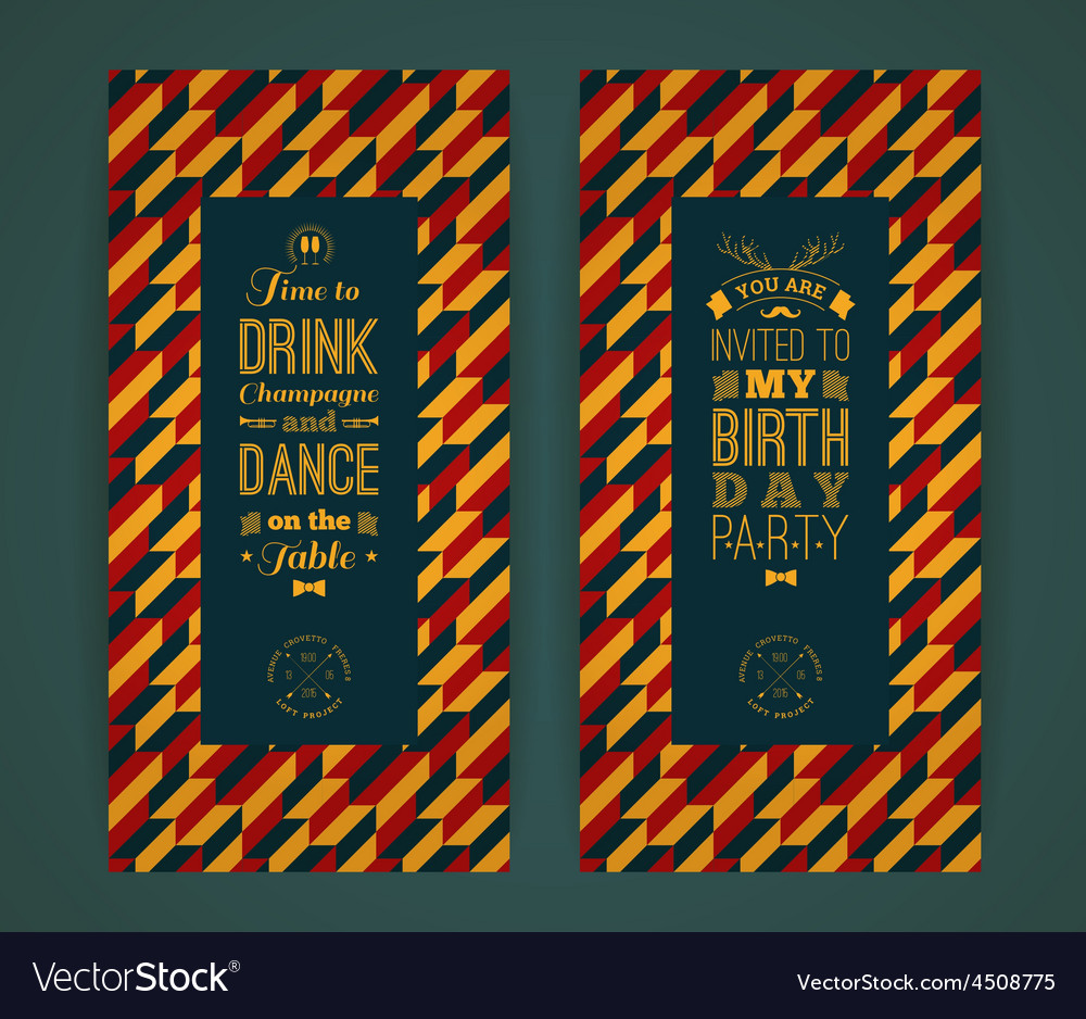 Happy birthday invitation vintage retro background vector | Price: 1 Credit (USD $1)