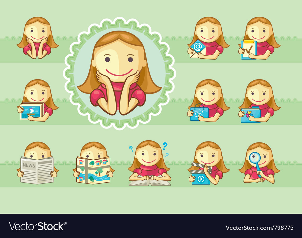 Icons of cute girls vector | Price: 3 Credit (USD $3)