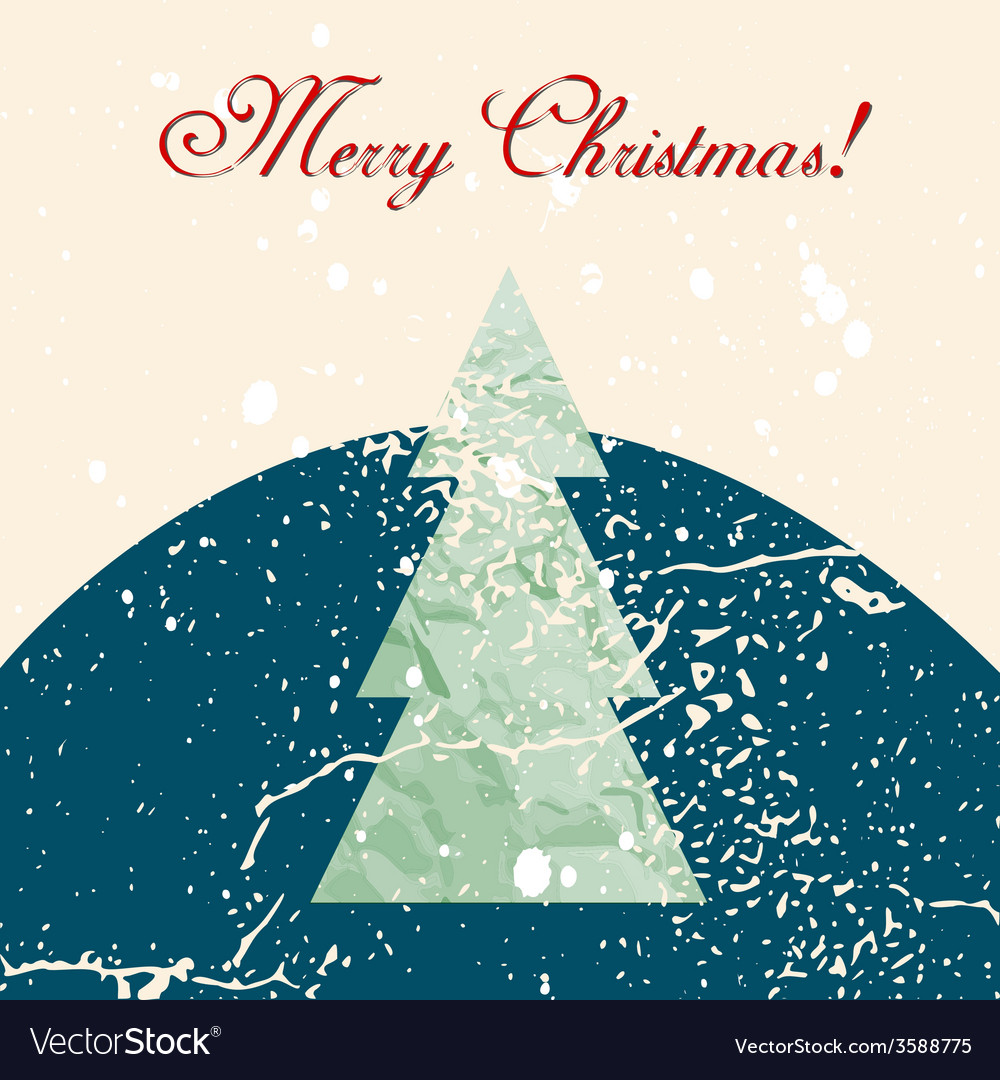 Merry christmas grunge tree background vector | Price: 1 Credit (USD $1)