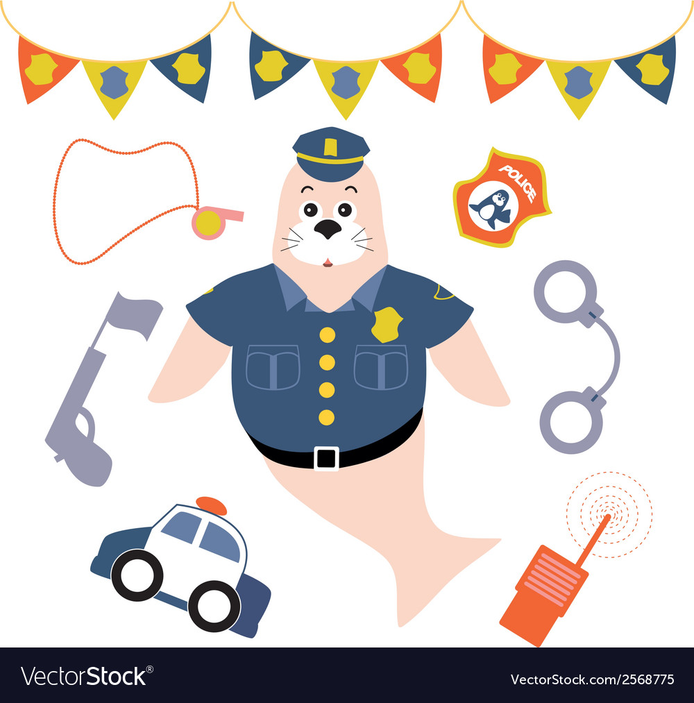 Police seal lion vector | Price: 1 Credit (USD $1)