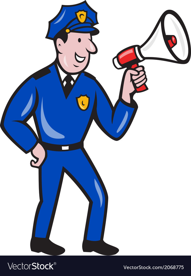 Policeman shouting bullhorn isolated cartoon vector | Price: 1 Credit (USD $1)