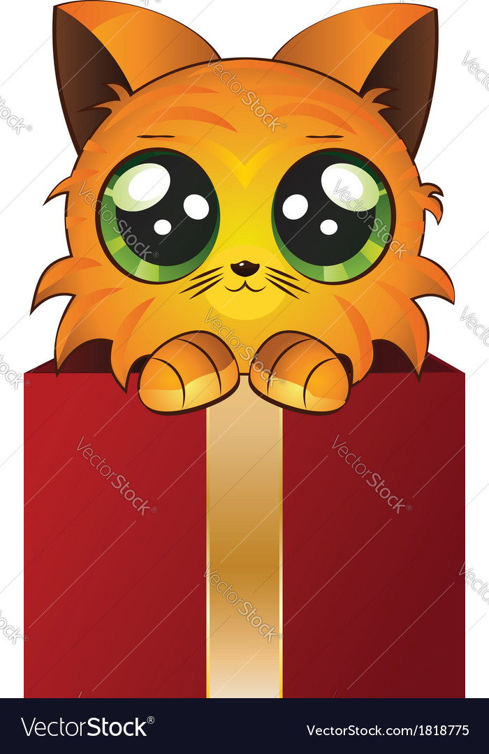 Red kitten in a box vector | Price: 1 Credit (USD $1)