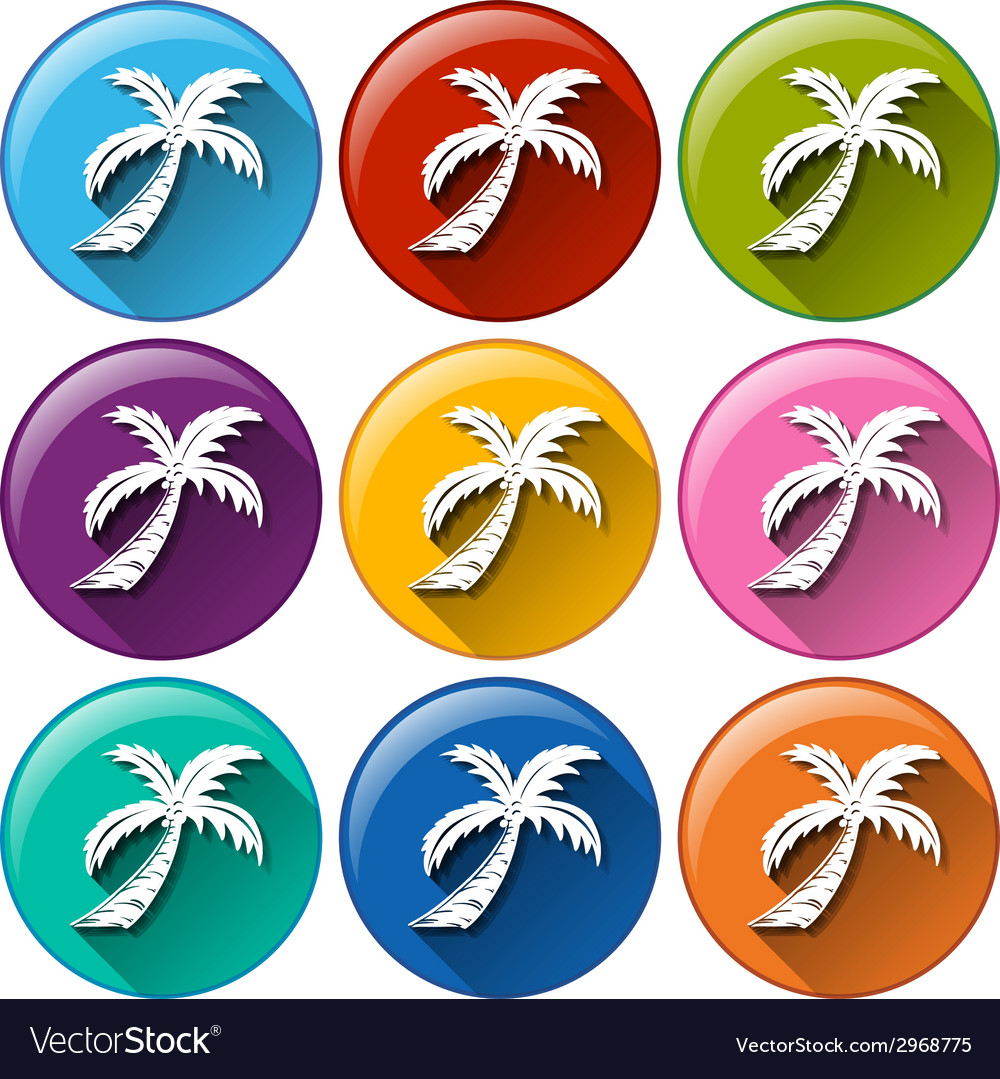 Round buttons with coconut trees vector | Price: 1 Credit (USD $1)