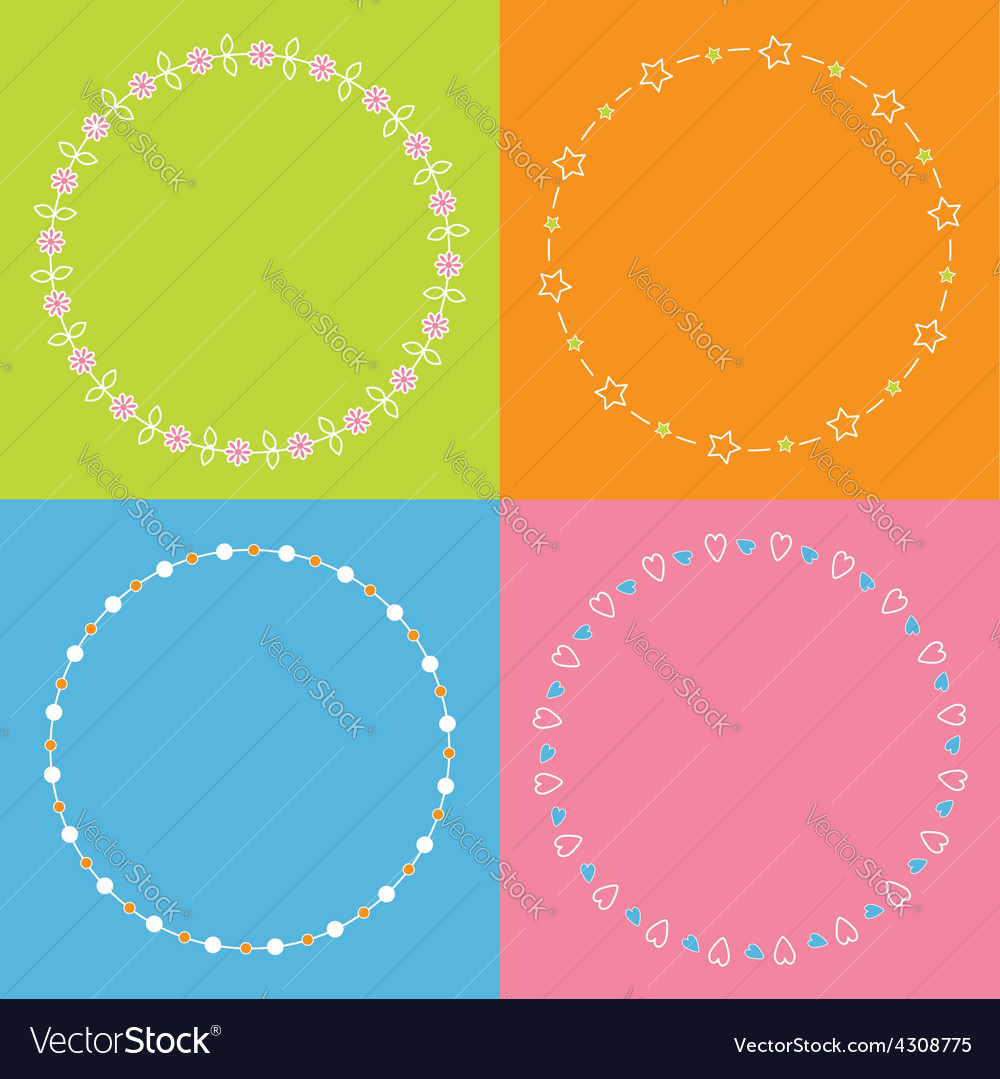 Round frame wreath set daisy flower star leaf dot vector   Price: 1 Credit (USD $1)