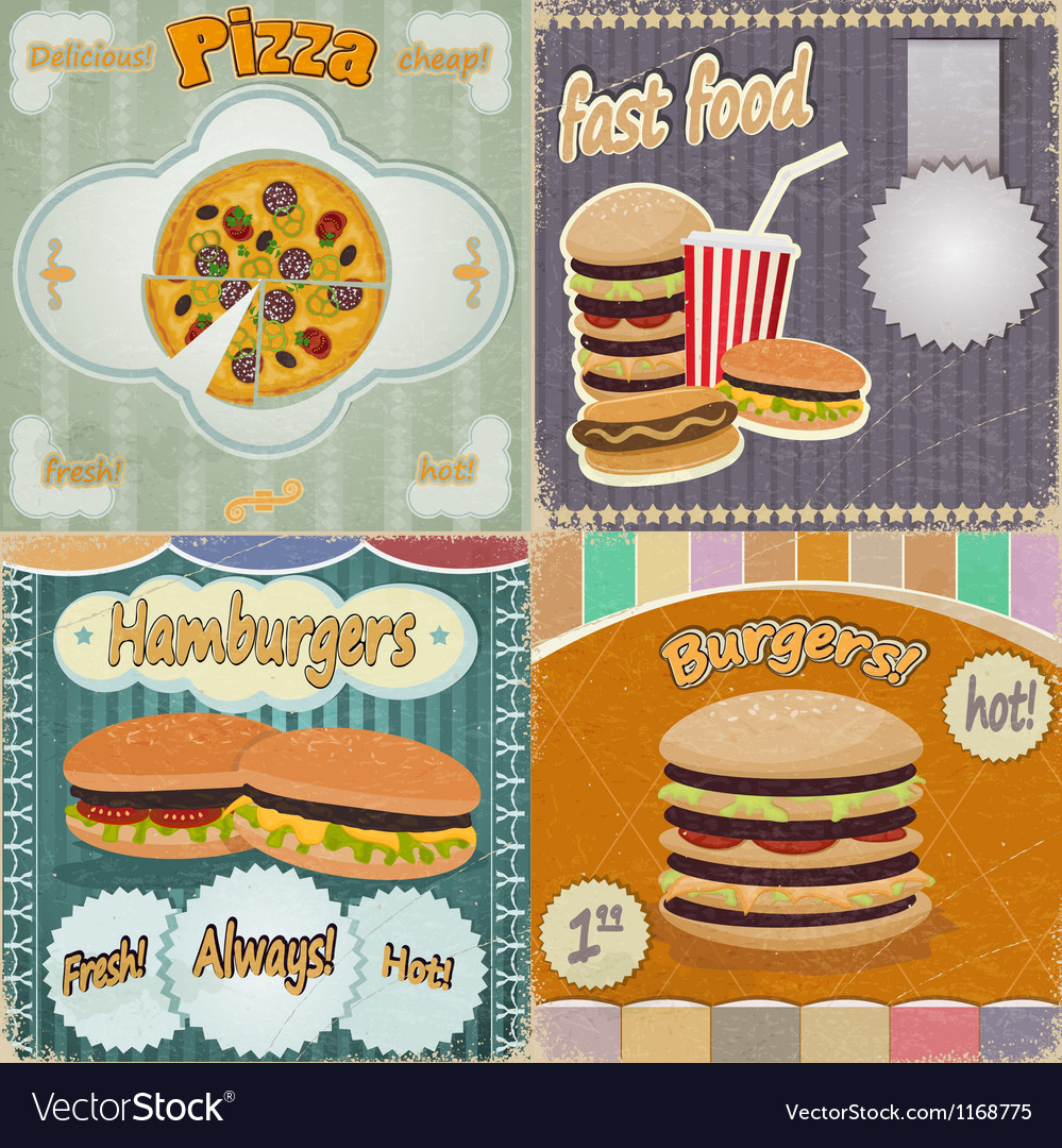 Set of vintage cards - fast food vector | Price: 3 Credit (USD $3)