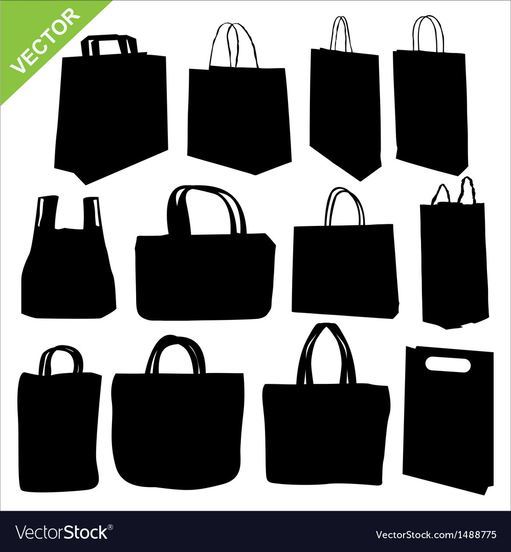 Shopping bag silhouettes vector | Price: 1 Credit (USD $1)