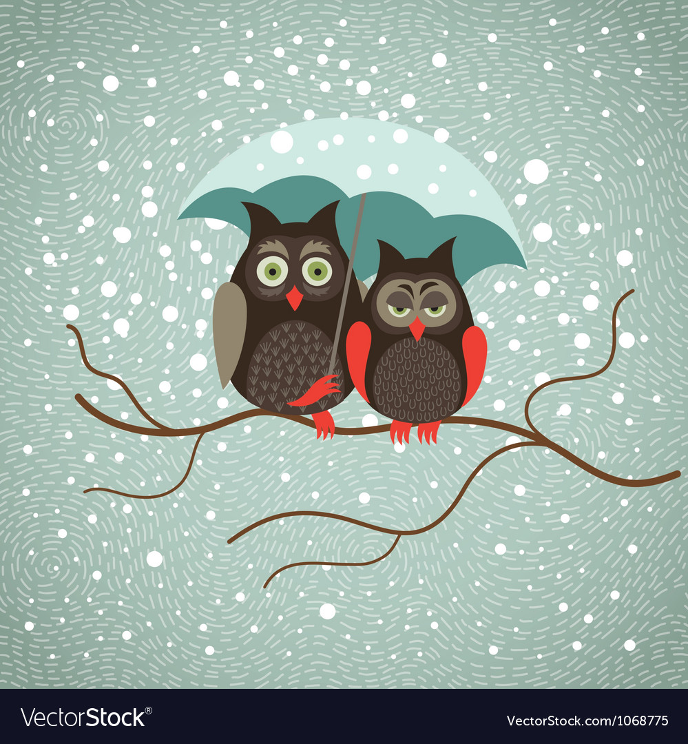 Two cute sad owls in wintertime vector | Price: 1 Credit (USD $1)