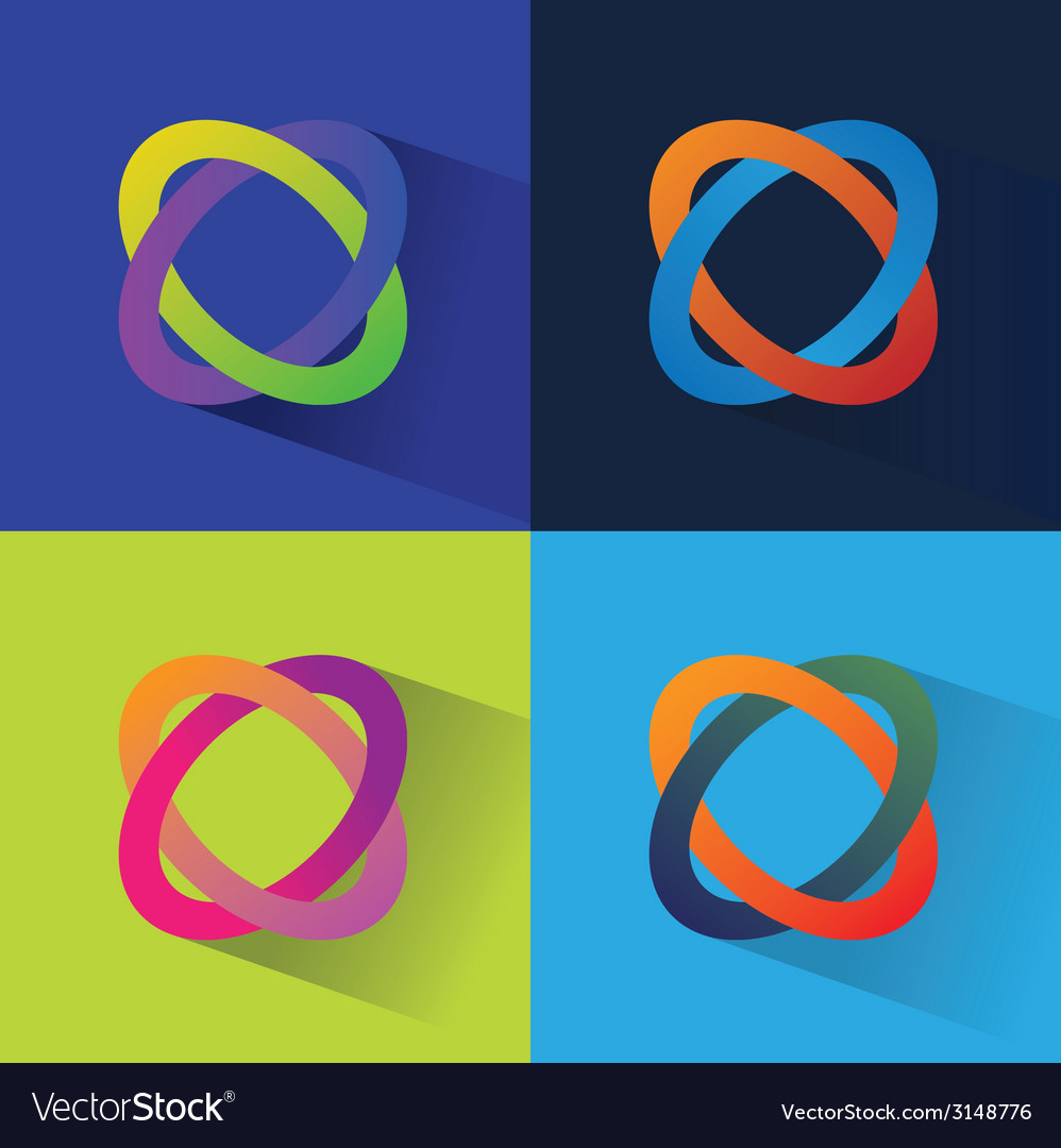 Abstract flat icos set isolated on color vector | Price: 1 Credit (USD $1)