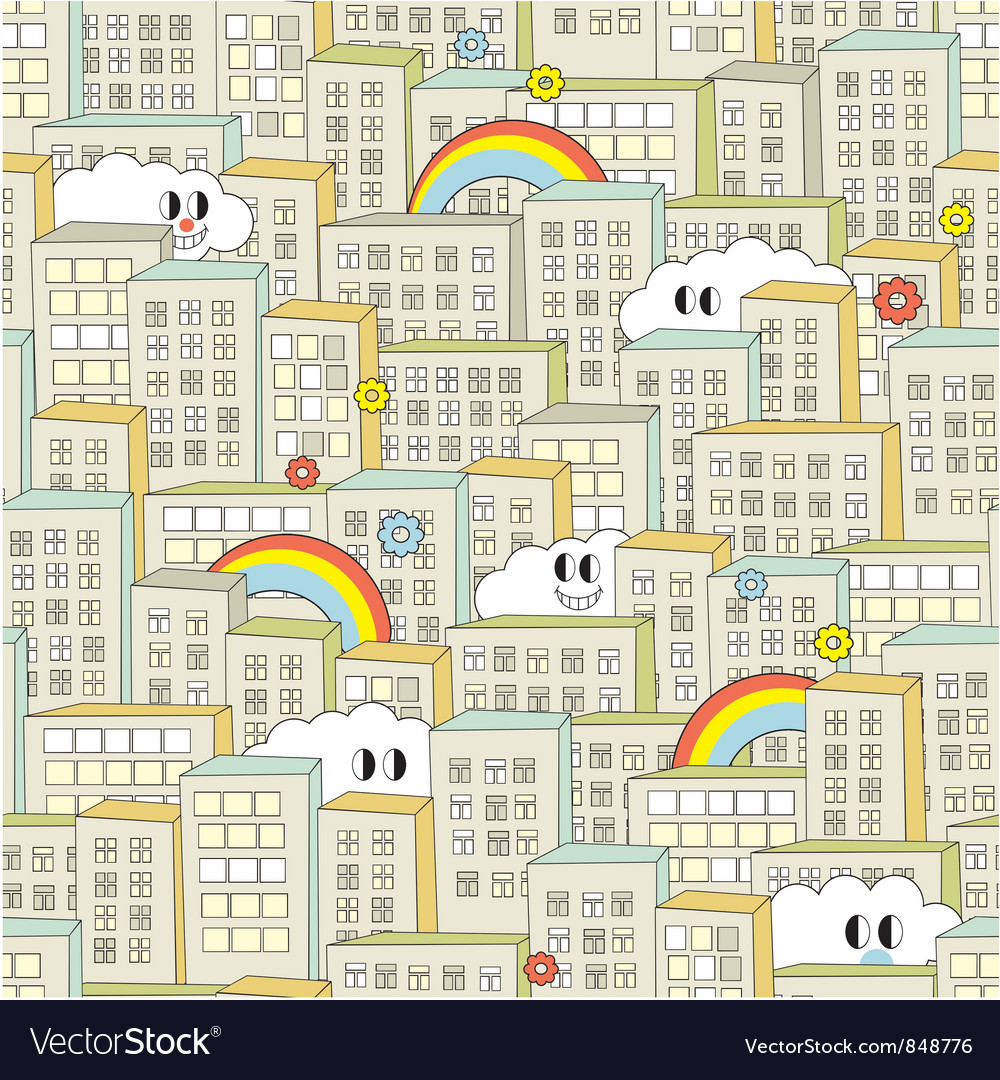 City with cute clouds vector | Price: 1 Credit (USD $1)