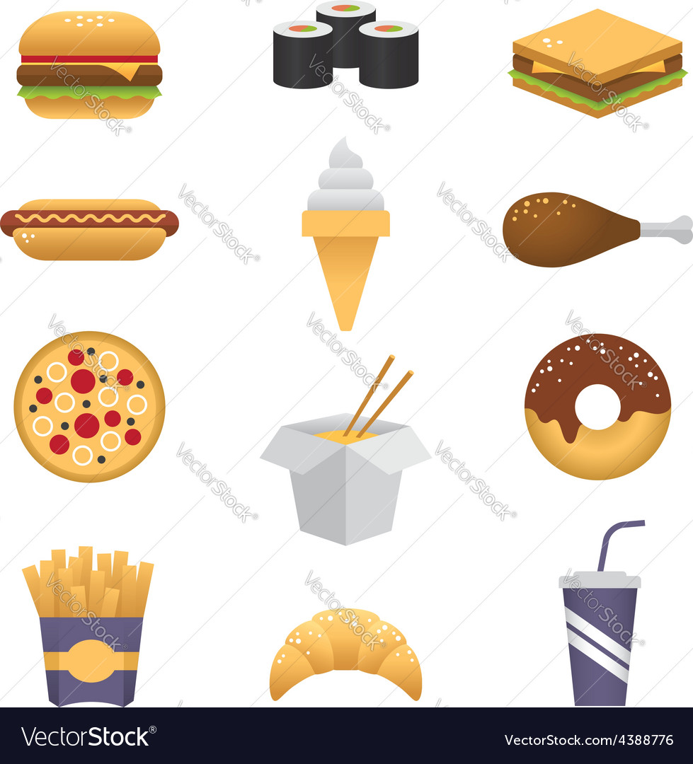 Colored fast food icons vector | Price: 1 Credit (USD $1)