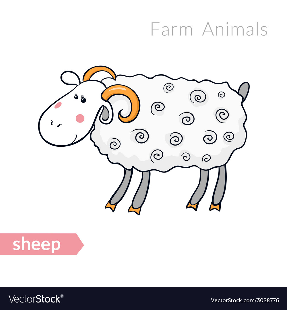 Cute cartoon sheep with thick fur isolated vector | Price: 1 Credit (USD $1)