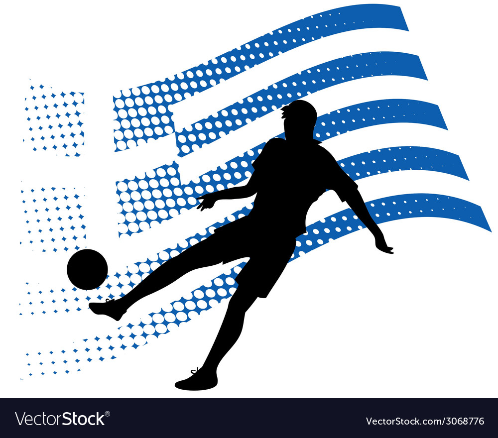 Greece soccer player against national flag vector | Price: 1 Credit (USD $1)