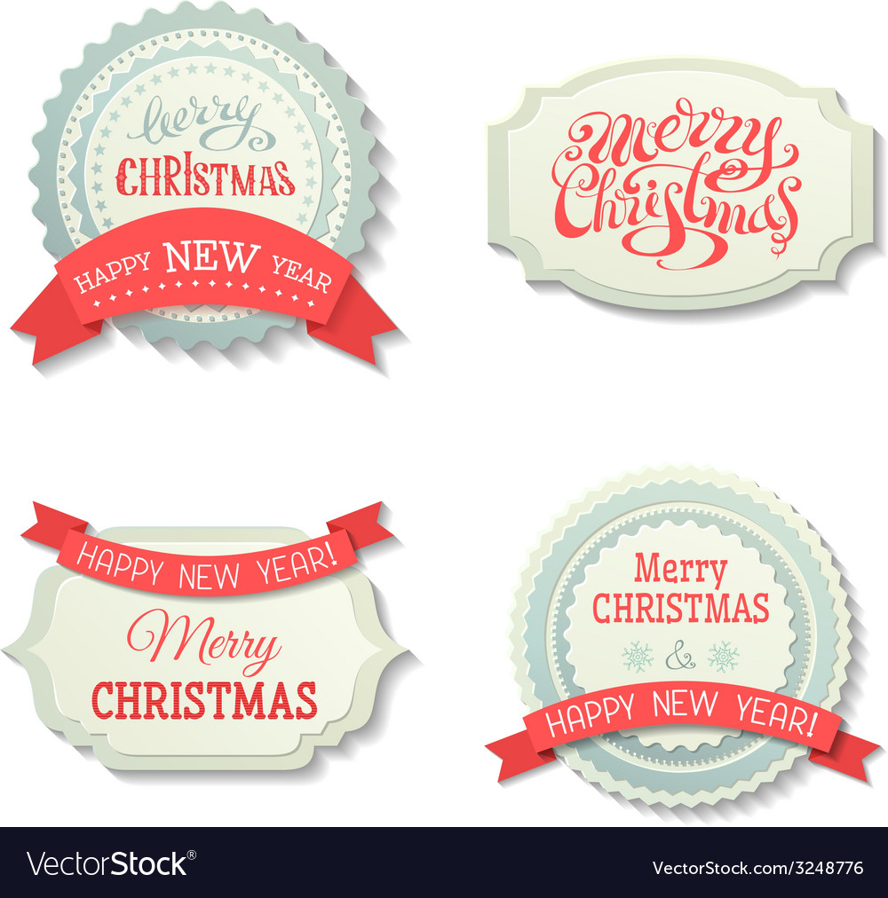 Set of christmas badges and labels vector | Price: 1 Credit (USD $1)