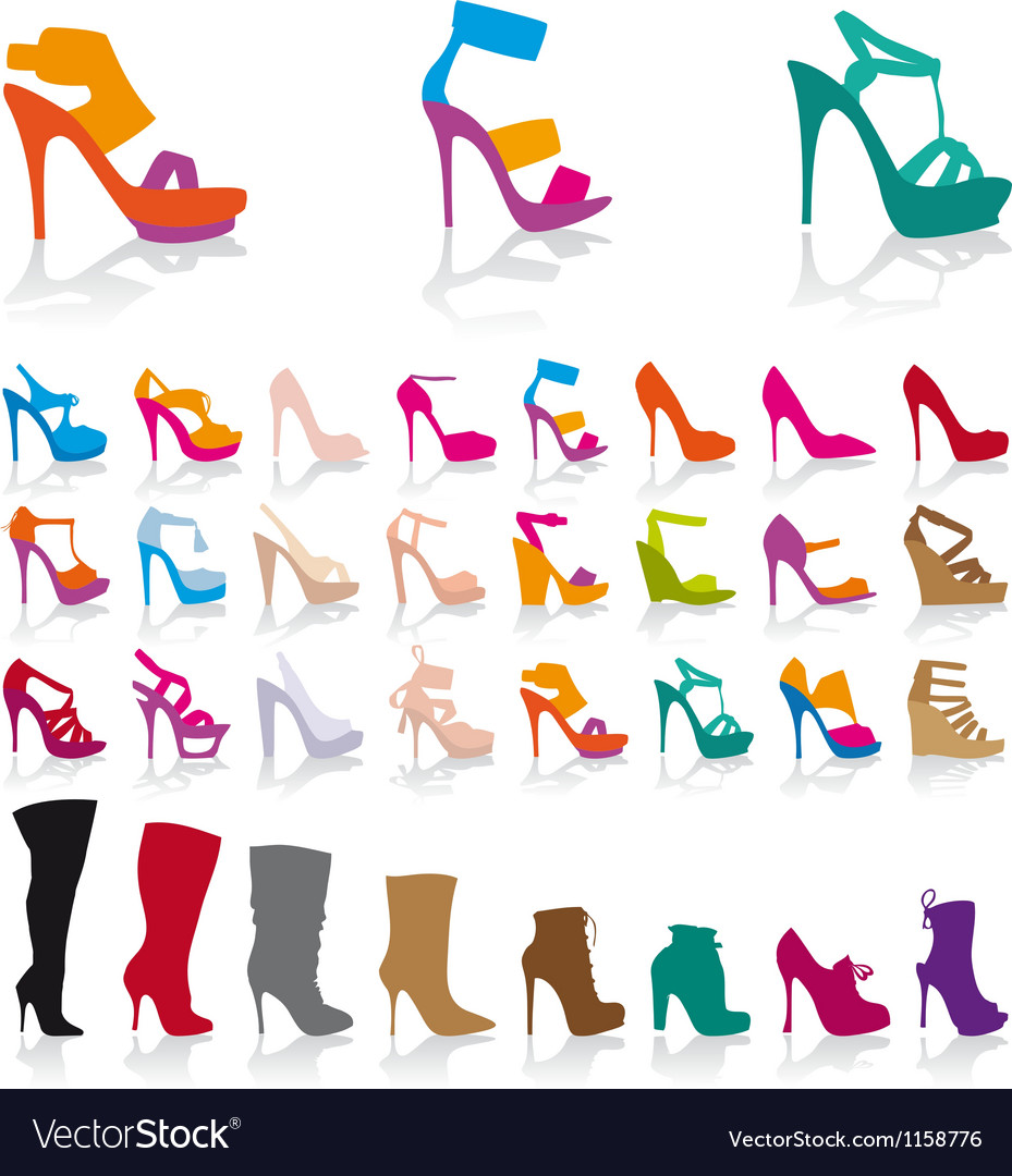 Set of detailed colorful shoes vector | Price: 1 Credit (USD $1)