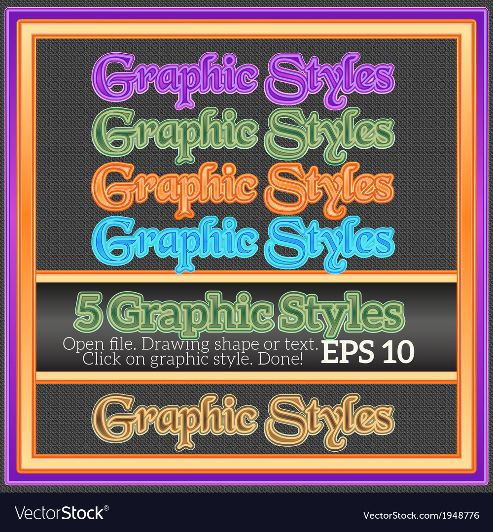 Set of glossy graphic styles for design vector | Price: 1 Credit (USD $1)