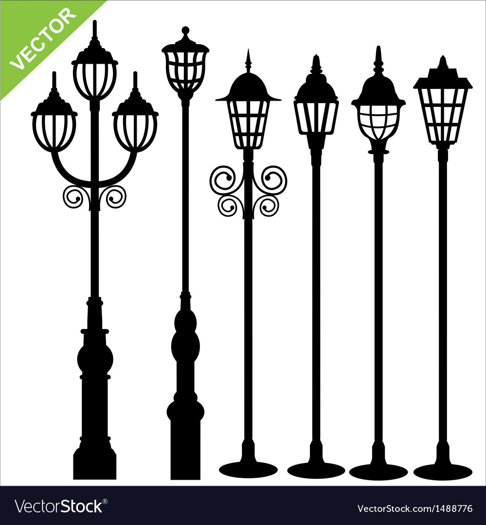 Street lamps silhouettes vector | Price: 1 Credit (USD $1)