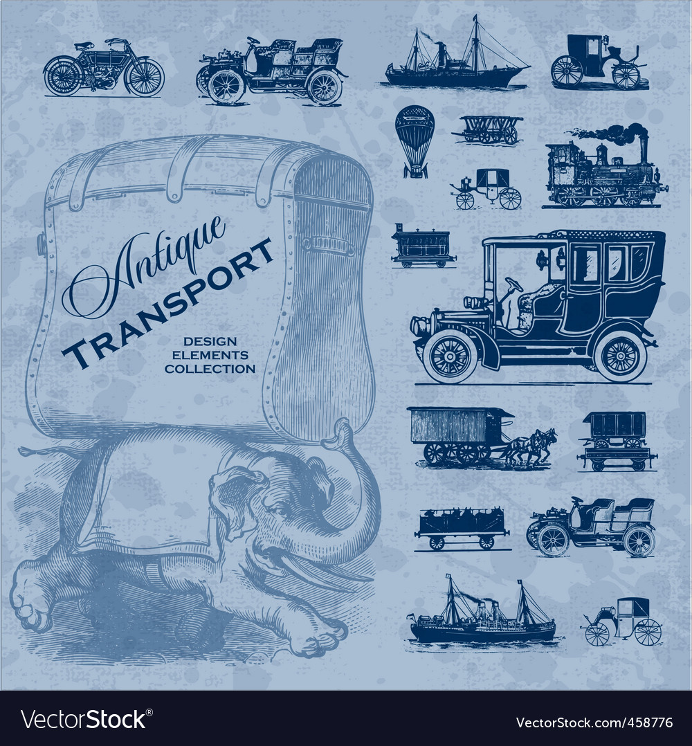 Transportation antique set vector | Price: 1 Credit (USD $1)
