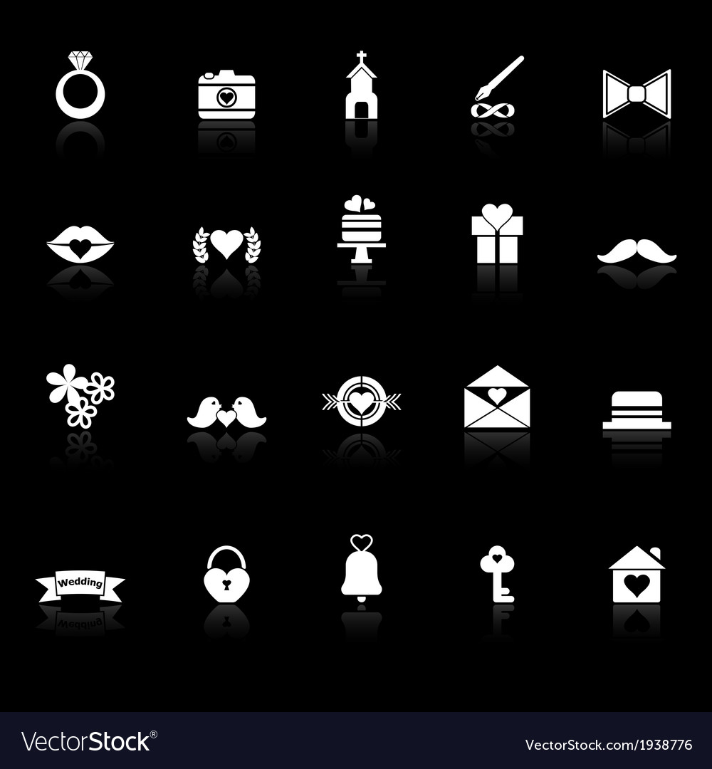 Wedding icons with reflect on black background vector | Price: 1 Credit (USD $1)