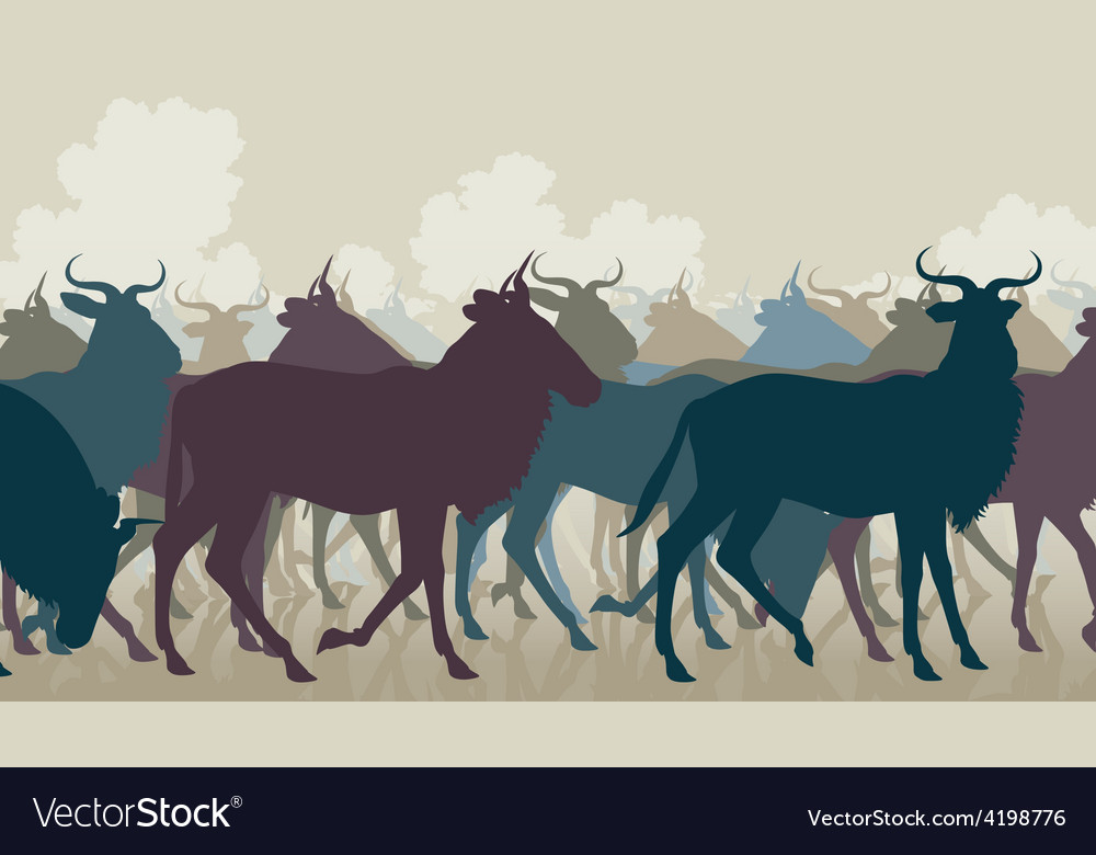 Wilderbeest herd vector | Price: 1 Credit (USD $1)