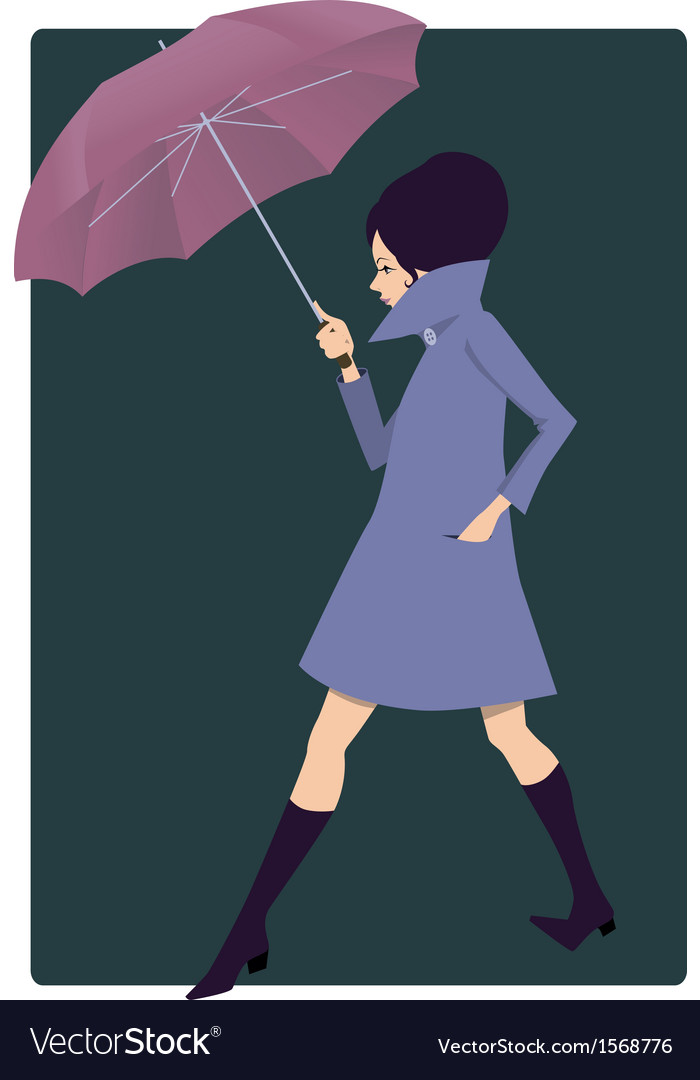 Woman with an umbrella vector | Price: 1 Credit (USD $1)
