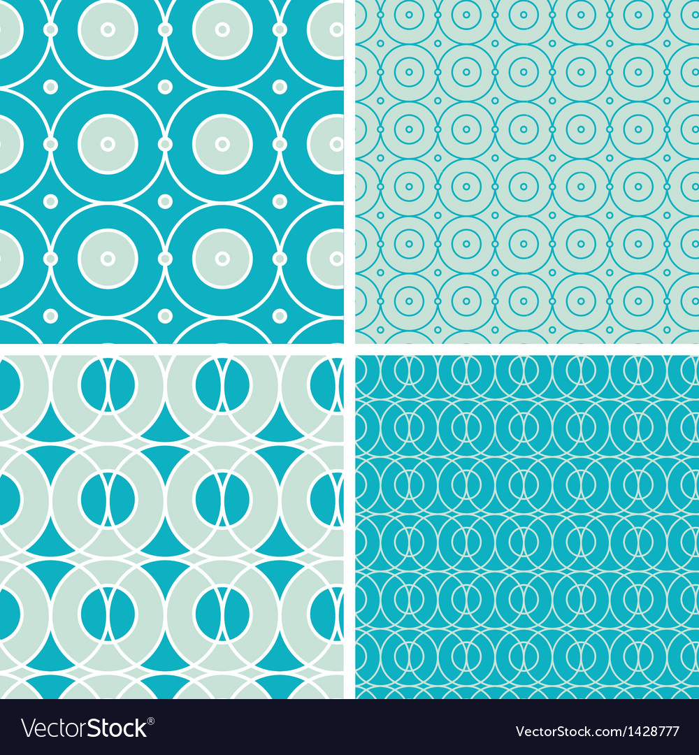 Abstract geometric circles seamless patterns set vector | Price: 1 Credit (USD $1)