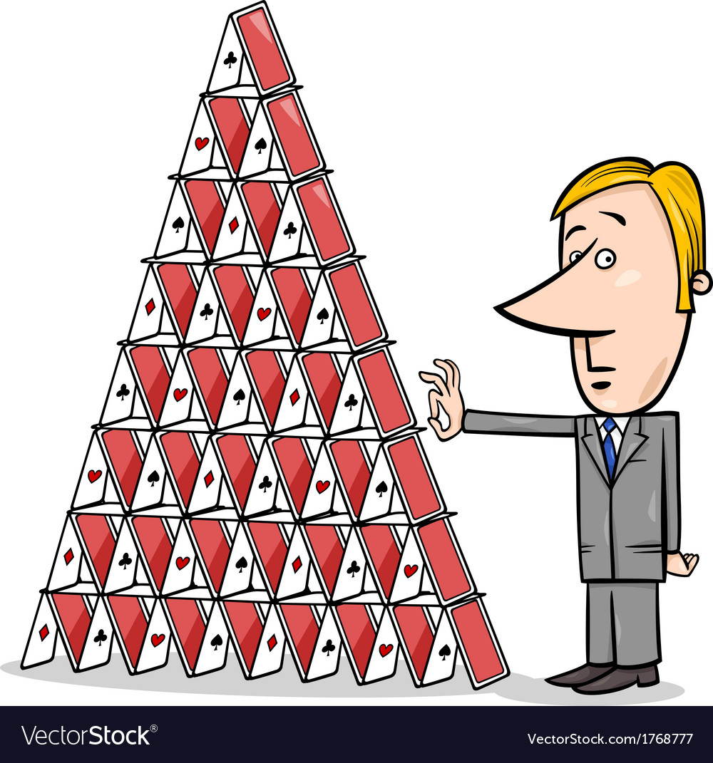 Businessman and house of cards cartoon vector | Price: 1 Credit (USD $1)