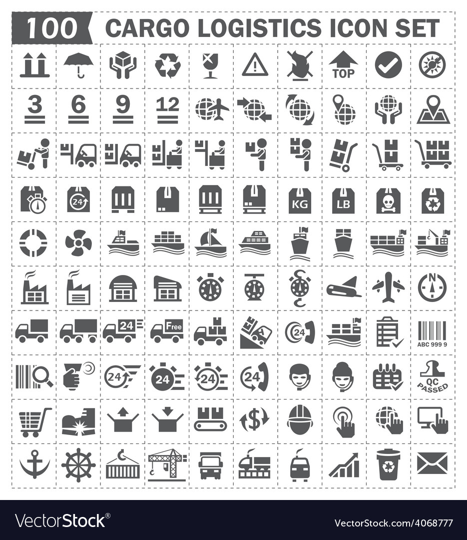 Cargo logistics icon set vector | Price: 1 Credit (USD $1)