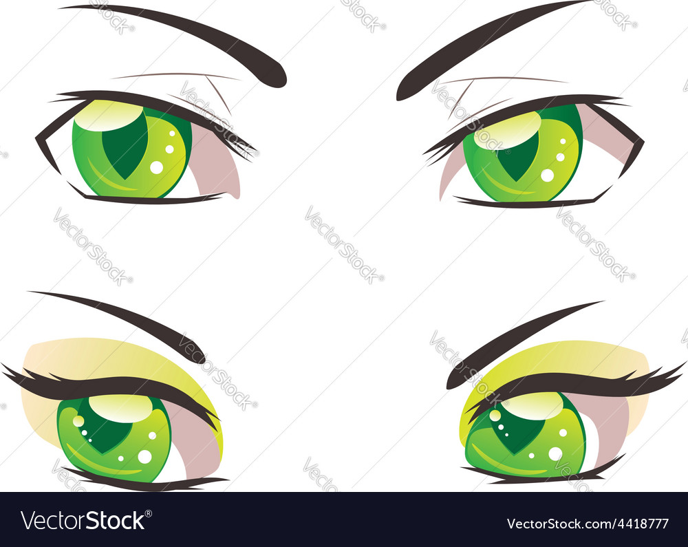 Cartoon green eyes vector | Price: 1 Credit (USD $1)