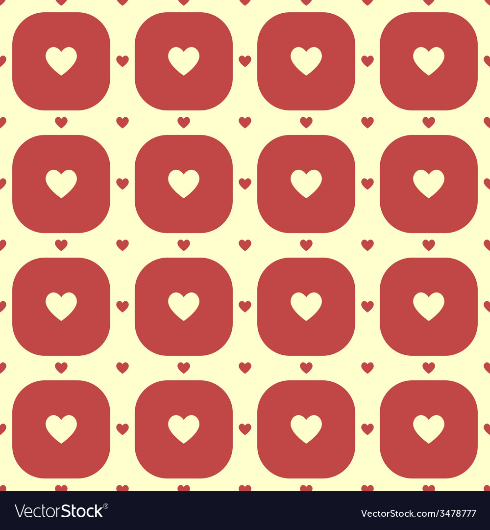 Cream color hearts in red rounded squares pattern vector   Price: 1 Credit (USD $1)