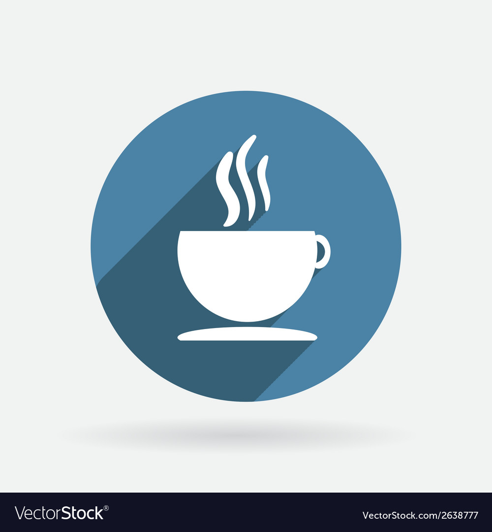 Cup of hot drink circle blue icon with shadow vector | Price: 1 Credit (USD $1)