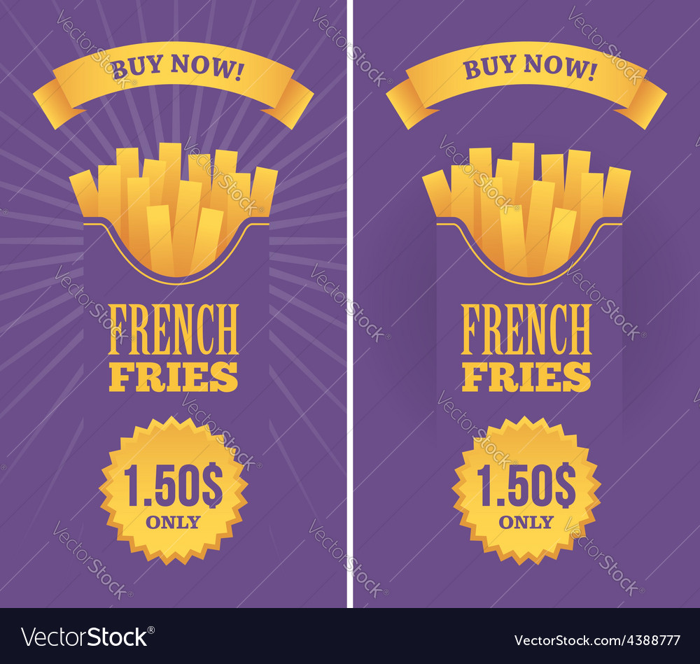 French fries banners vector | Price: 1 Credit (USD $1)
