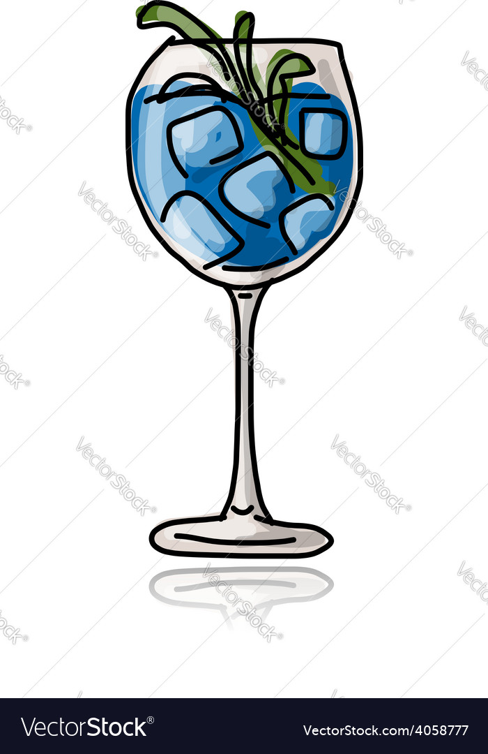 Glass with cocktail sketch for your design vector   Price: 1 Credit (USD $1)