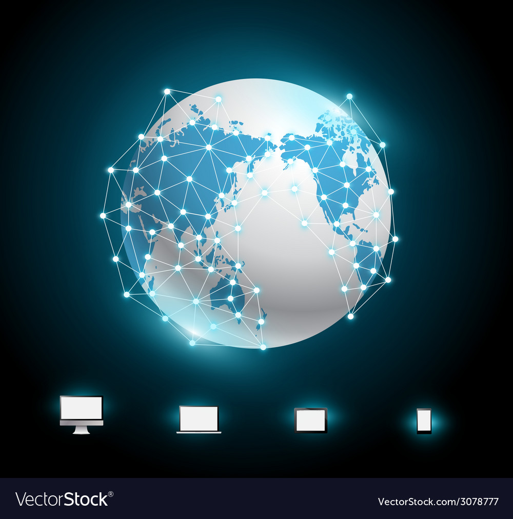 Globe connections network design vector | Price: 1 Credit (USD $1)