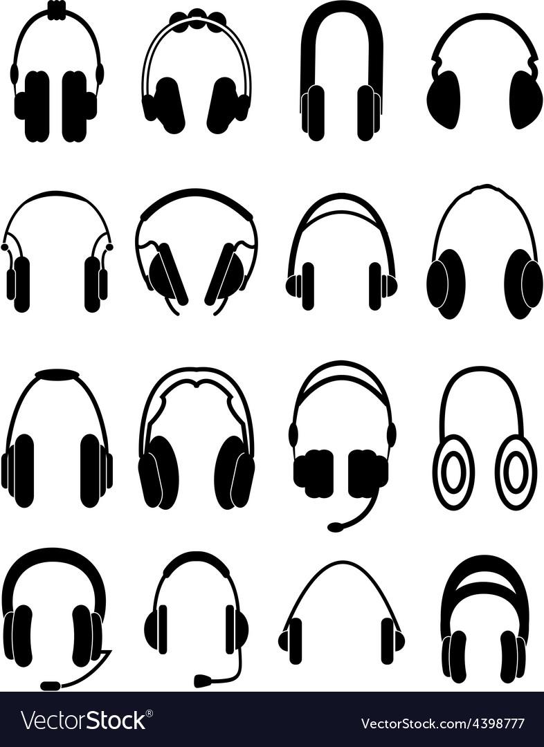 Headphones icons set vector | Price: 3 Credit (USD $3)