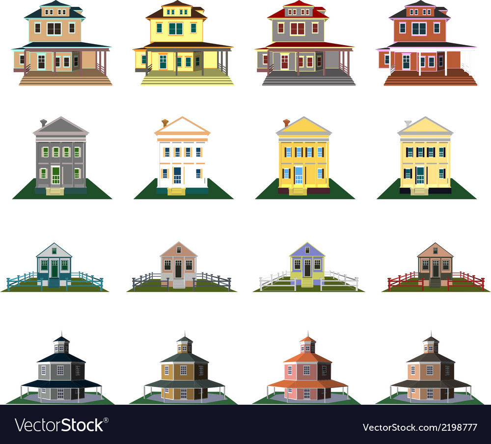Houses front view vector | Price: 1 Credit (USD $1)