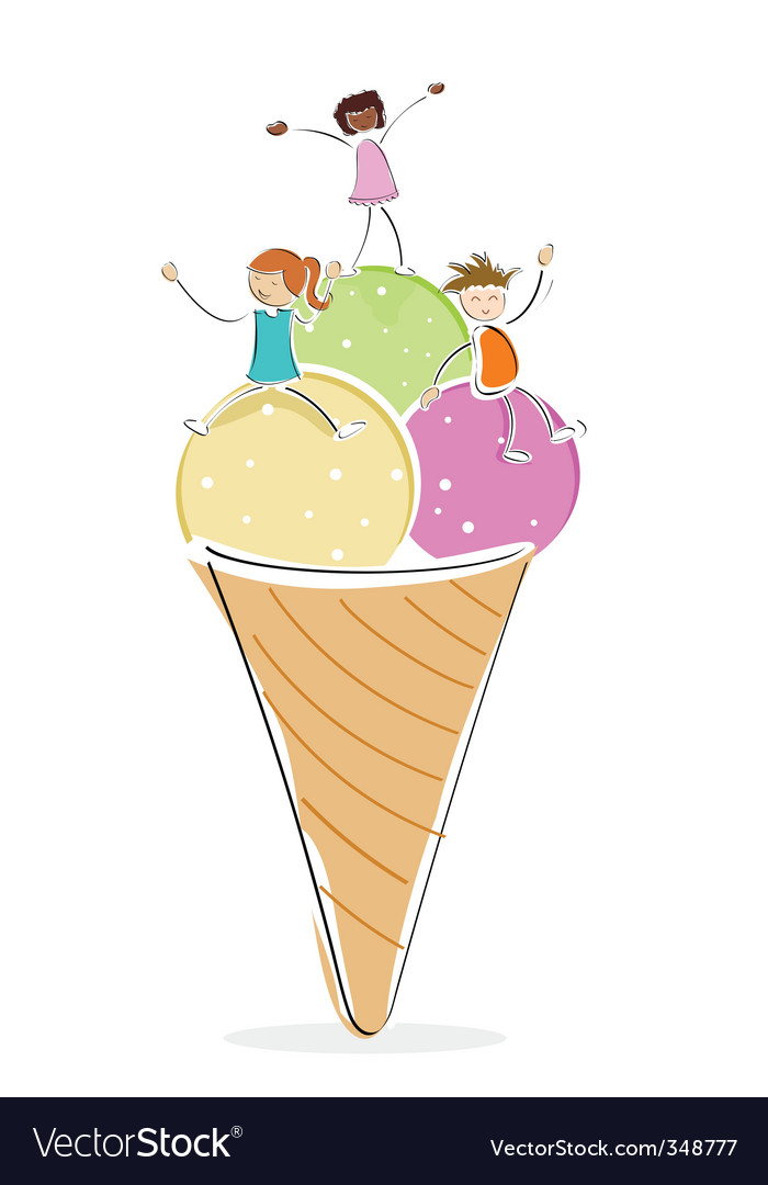 Kids with ice cream vector | Price: 1 Credit (USD $1)