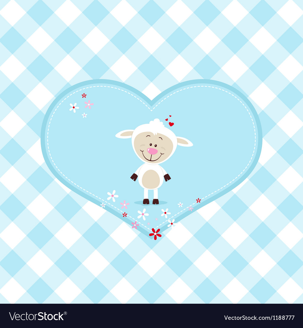 Lovely sheep in a big heart vector | Price: 3 Credit (USD $3)