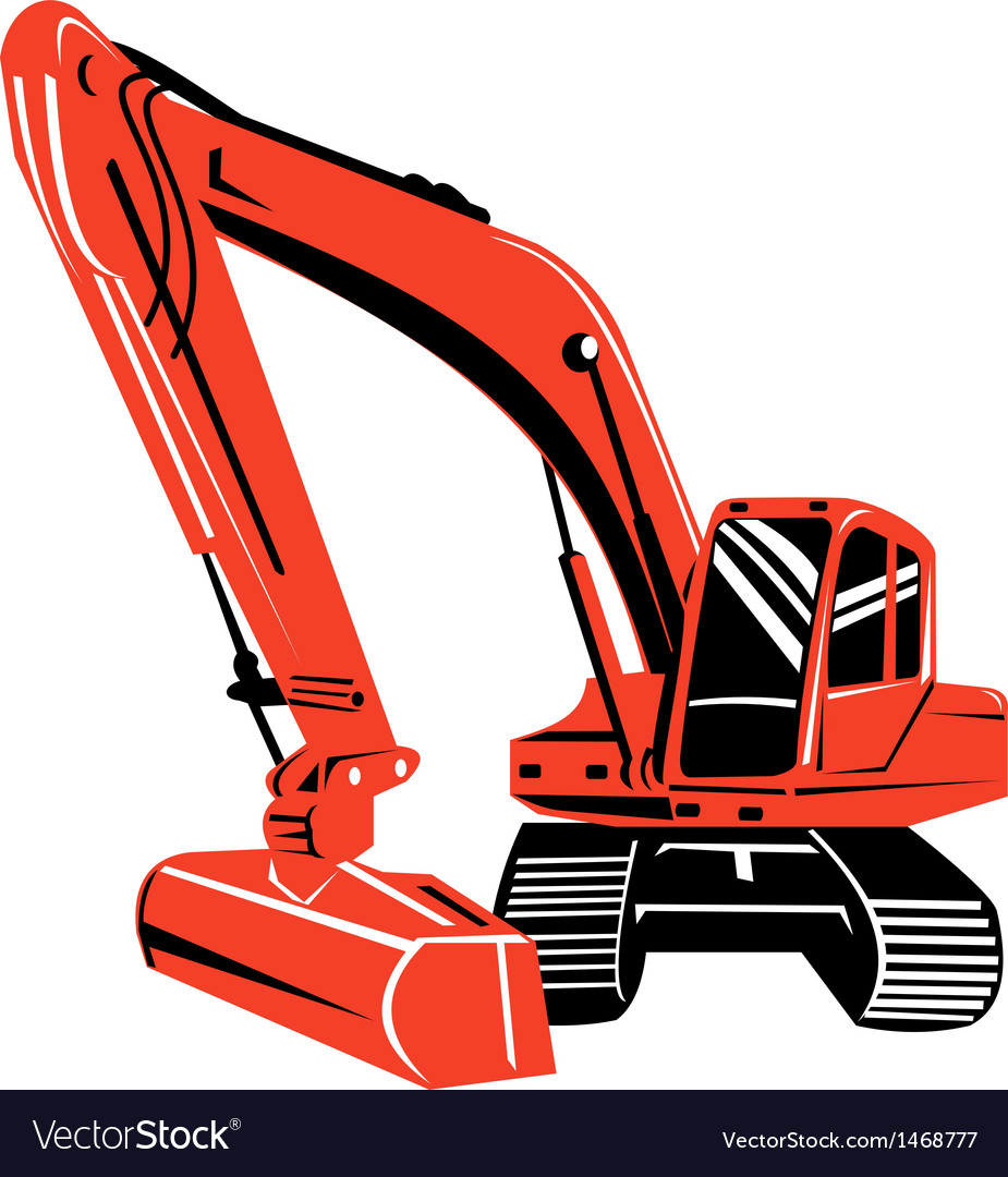 Mechanical digger excavator retro vector | Price: 1 Credit (USD $1)