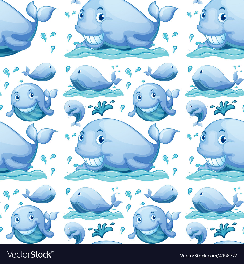 Seamless whale vector | Price: 3 Credit (USD $3)