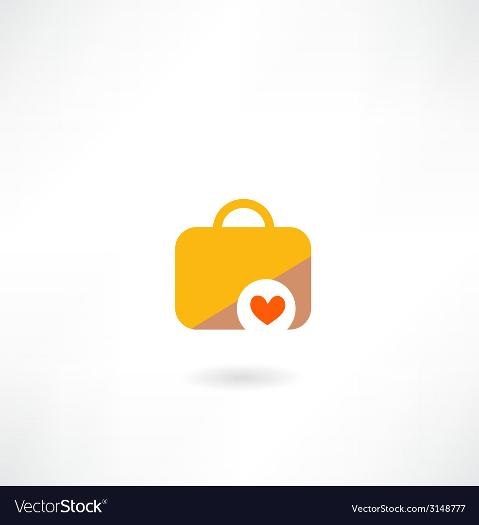Suitcase with a heart icon vector   Price: 1 Credit (USD $1)