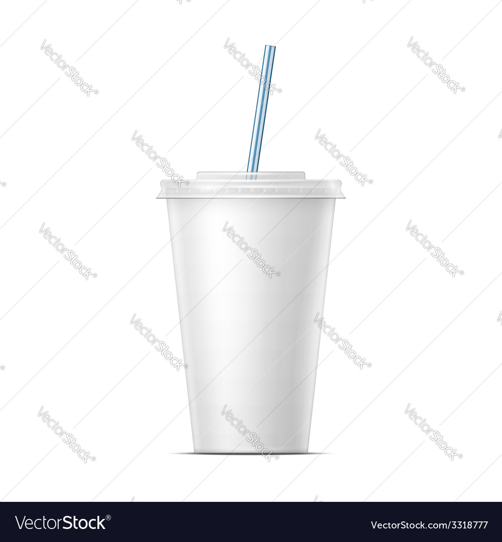 White paper soda cup template vector