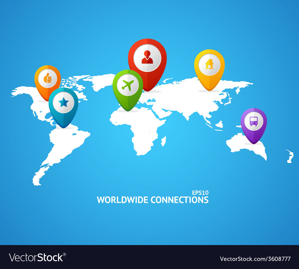 World map with color geo location pin vector | Price: 1 Credit (USD $1)