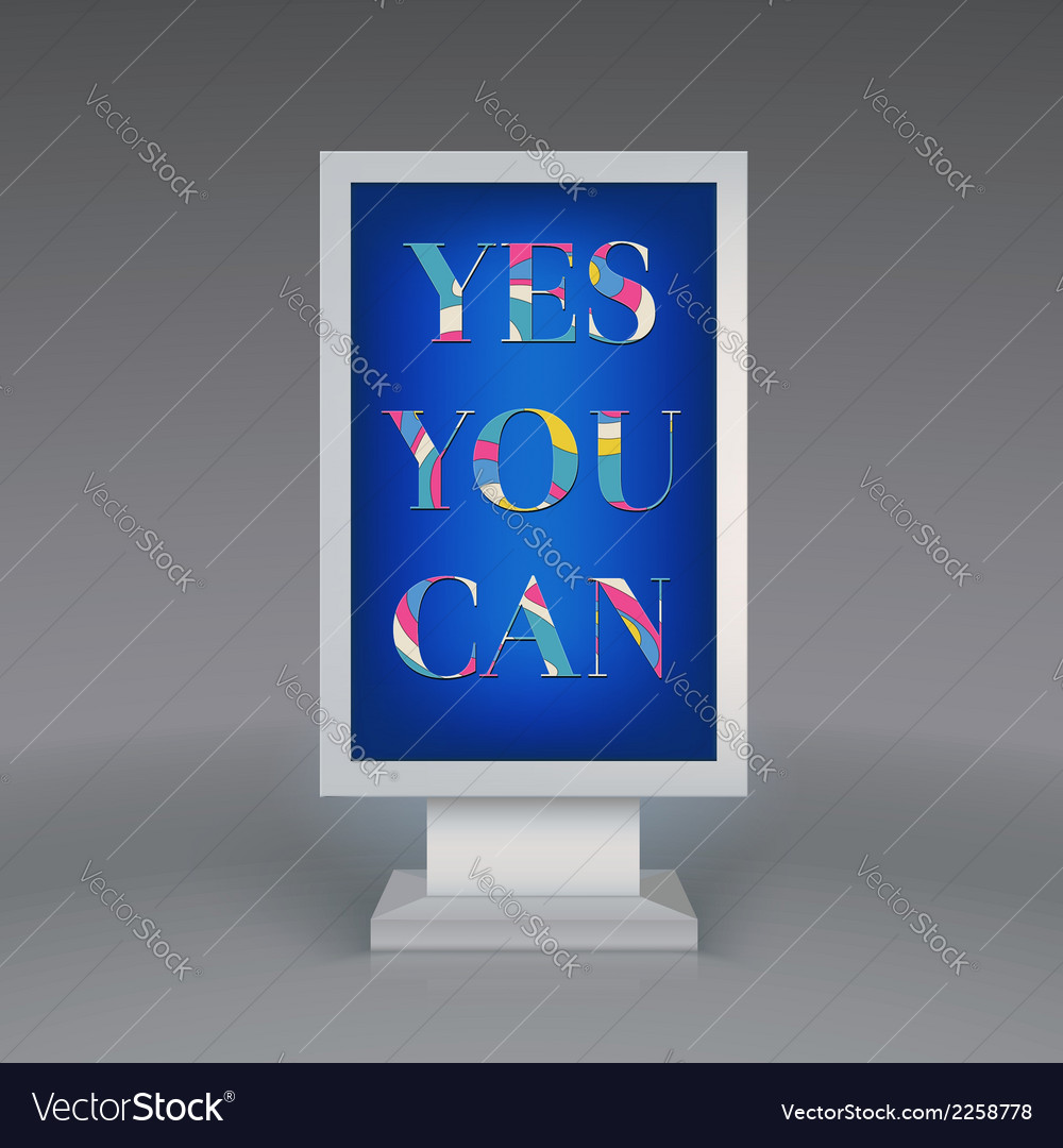 Advertising signboard yes you can vector | Price: 1 Credit (USD $1)